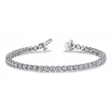 4.50 Carat Tennis Bracelet 4 prongs Round Diamonds G SI1 14K