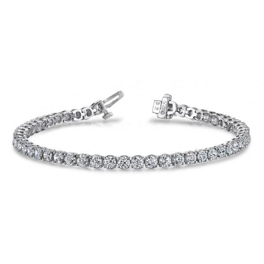 4.50 Carat Tennis Bracelet 4 prongs Round Diamonds G SI1 14K