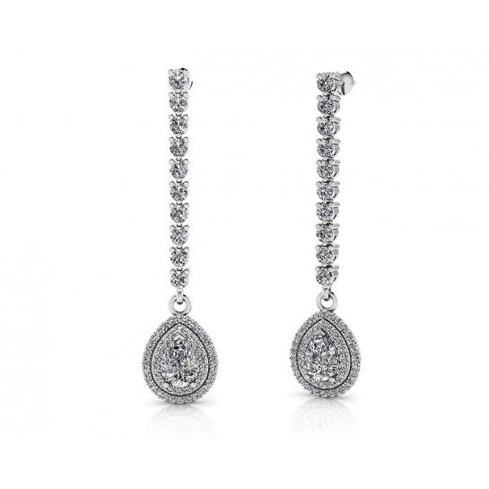 14K Gold Hanging Long Diamond Earrings 3.0-0 CTW Round & Pear Shape