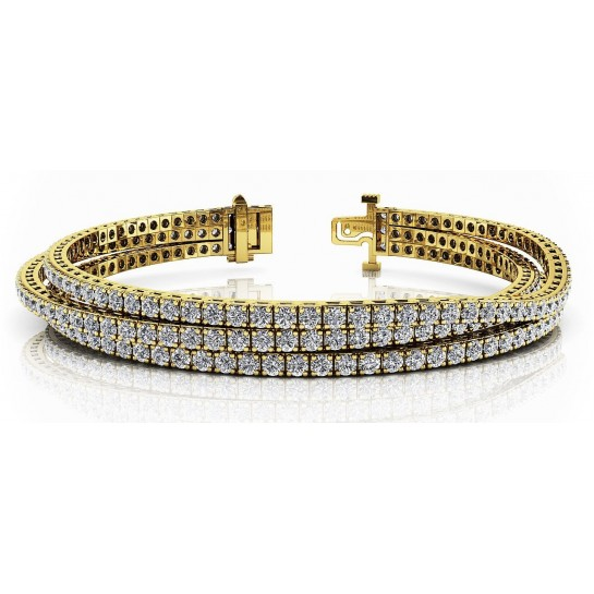 5.50 ct Three Row Flexible Diamond Bracelet set with Round Brilliant Cut / 14K solid White or Yellow Gold