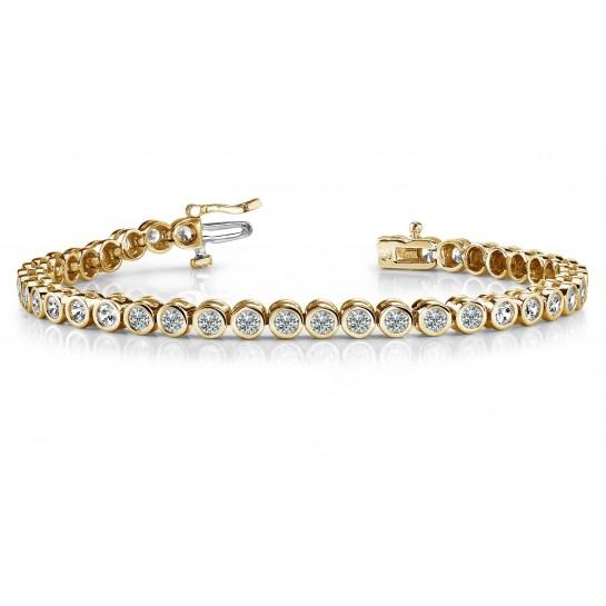 "14K Bezel Link Diamond Tennis Bracelet 4.00 ctw White or Yellow Gold 7"" Inches"