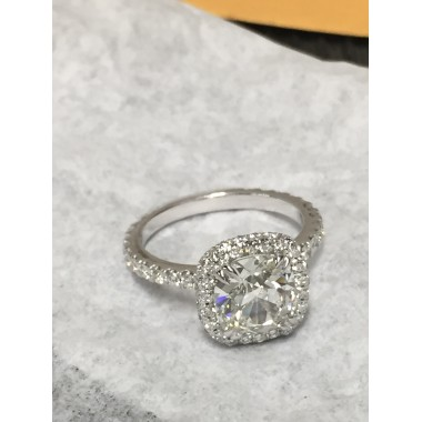 Cushion Cut Natural Diamond 2.26 ct G VS2 GIA Certified Mounted in a Platinum DIamond Halo Engagement Ring