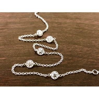 Diamonds By The Yard Necklace w/ .40's each 2.80 ctw 14K White Gold