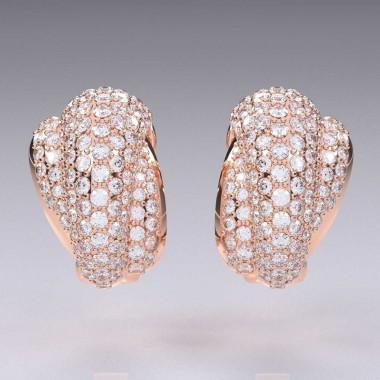 3.50 Ct 14K Diamond Clip Designer Earrings