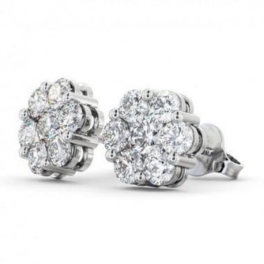 F VS Ideal Diamond Cluster Flower Earrings 0.65 Carat Weight 14K White Gold