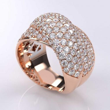 4.00 Carat Micro-Pave Elegant Diamond Ring 14K Rose Gold