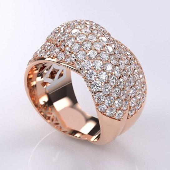4.00 Carat Micro-Pave Elegant Diamond Ring 14K Rose Gold