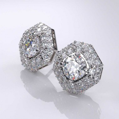 2.50 Carat Diamond Halo & Micro-Pave Stud Earrings 18K White Gold