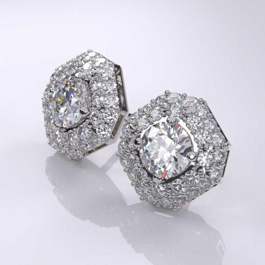 2.50 Carat Diamond Halo & Micro-Pave Stud Earrings 18K White Gold