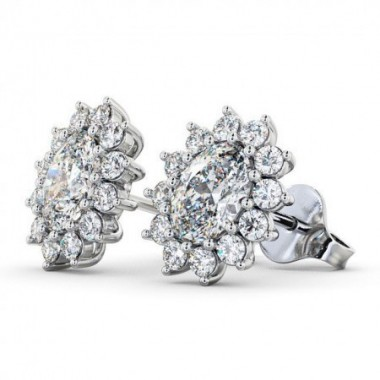 1.85 Carat Oval & Floral Halo Stud Earrings 18K White Gold