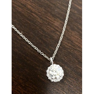 Diamond Halo Pendant 1.50 Carat Total Weight 14K White Gold