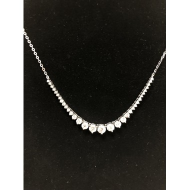 Diamond Tennis Necklace 2.01 CT 14K White Gold