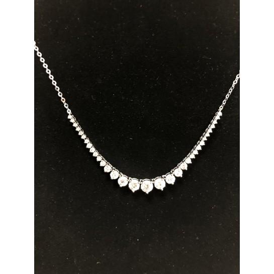 Diamond Tennis Necklace 2.01 CT 14K White Gold