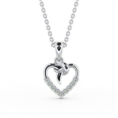 "Diamond Heart Pendant and 16"" Cable Chain"