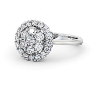 Diamond Flower Cluster Halo Ring