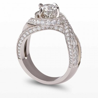 Twist Pave Diamond Engagement Ring