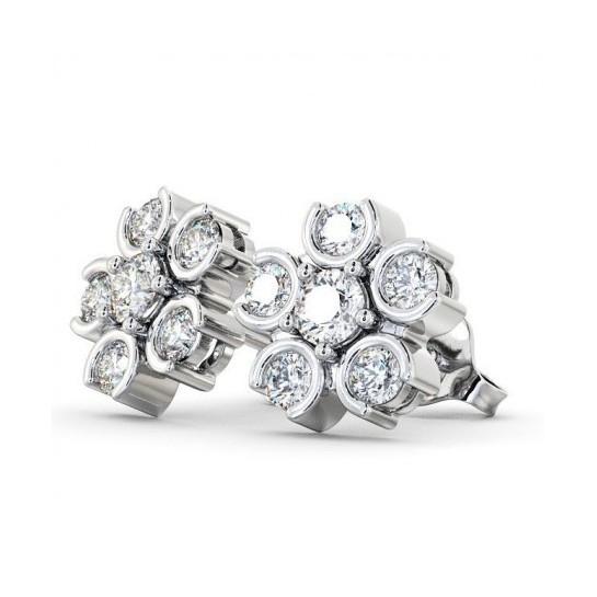 Diamond Half Bezel & Prong Set Cluster Designer Earrings