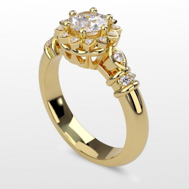 Yollow Gold Crown Halo Engagement Ring