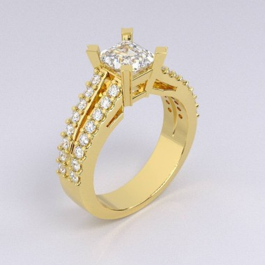 Split Shank Yellow Gold Diamond Engagement Ring