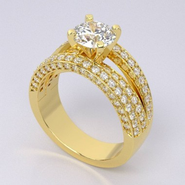 .85 ct Split Shank Yellow Gold Diamond Engagement Ring Semi Mount