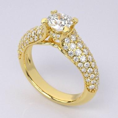 0.81 ct Micro-Pave Diamond Engagement Ring Semi Mount