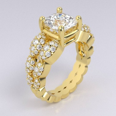 0.75 ct Micro-Pave Engagement Ring Split Shank Semi Mount