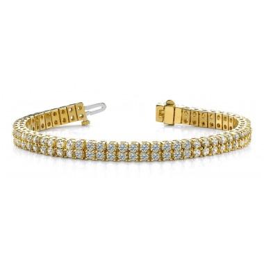 6.15 Carat THREE ROW FLEXIBLE DIAMOND BRACELET 14K White or Yellow Gold