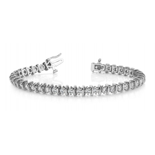 4.00 Carat CLASSIC DIAMOND BAR SET Tennis Bracelet 14K White or Yellow Gold