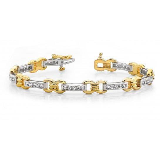 5.75 Carat Two Tone CLASSIC DIAMOND MICRO PAVE SET Tennis Bracelet 14K Gold