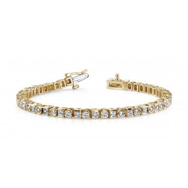 5.20 Carat Princess & Round DIAMOND Tennis Bracelet 14K Gold