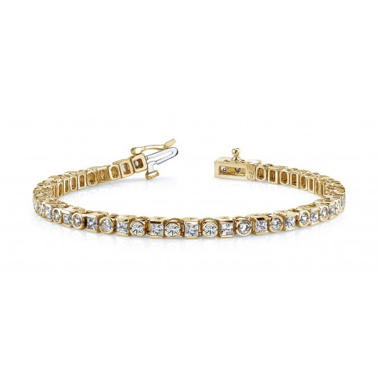 5.20 Carat Princess & Round DIAMOND Tennis Bracelet 14K Gold