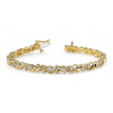 1.55 Carat Designer Diamond Bracelet Round DIAMOND Tennis Bracelet 14K Gold