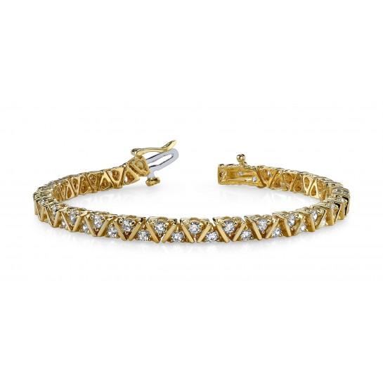 3.00 Carat Designer Diamond Bracelet Round DIAMOND Tennis Bracelet 14K Gold