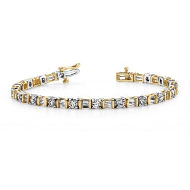 5.50 Carat Designer Baguette & Round Diamond Tennis Bracelet Round DIAMOND Tennis Bracelet 14K Two Tone Gold