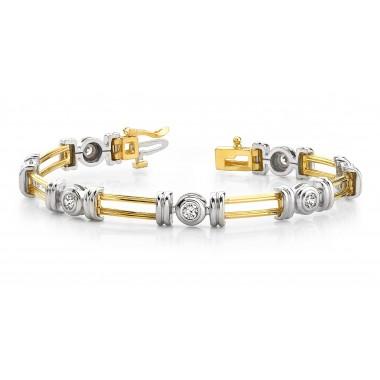 1.00 Carat Designer Rope Round Diamond Bracelet Round DIAMOND Bracelet 14K Two Tone Gold