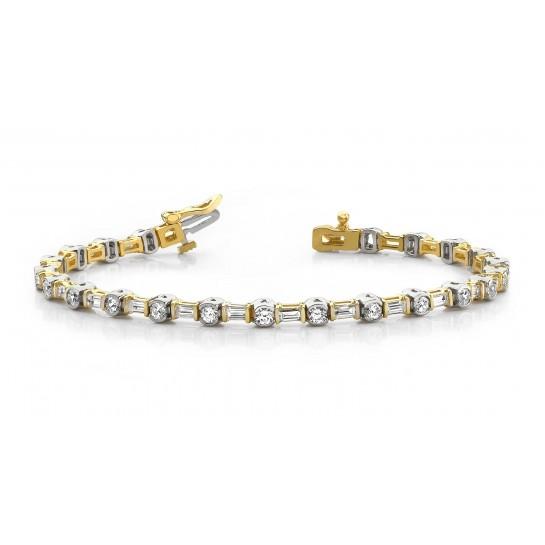 4.10 Carat Baguette & Round Diamond Tennis Bracelet 14K Two Tone Gold
