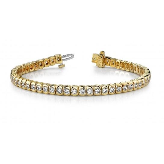 3.85 Carat Round Diamond Half Bezel Tennis Bracelet 14K Two Gold