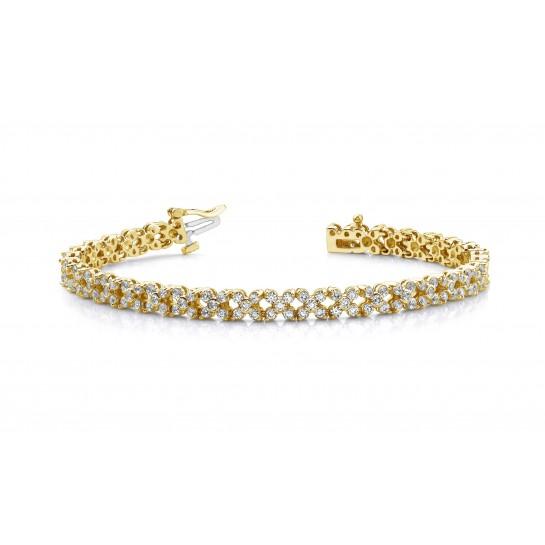 4.00 Carat Round Diamond Flower Bracelet 14K Gold