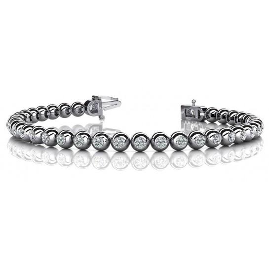 3.00 Carat Round Diamond Bezel Circular Tennis Bracelet 14K Gold