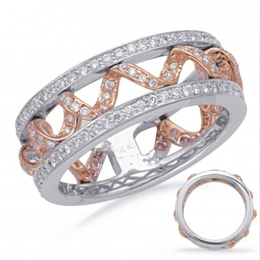 0.56 Carat ROSE & WHITE Gold Diamond Fashion Ring 14k Rose/Pink Gold