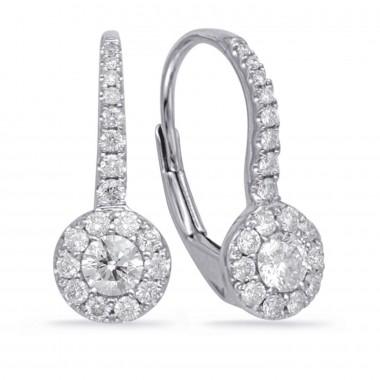 0.50 ct Diamond Halo Earrings 14K White Gold