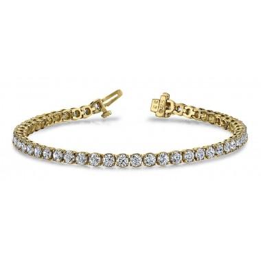 6.15 Carat Four Prong Basket Style Tennis Bracelet 14K White or Yellow Gold