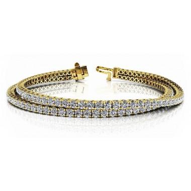5.66 Carat Four Prong Basket Style Double Strand Tennis Bracelet 14K White or Yellow Gold
