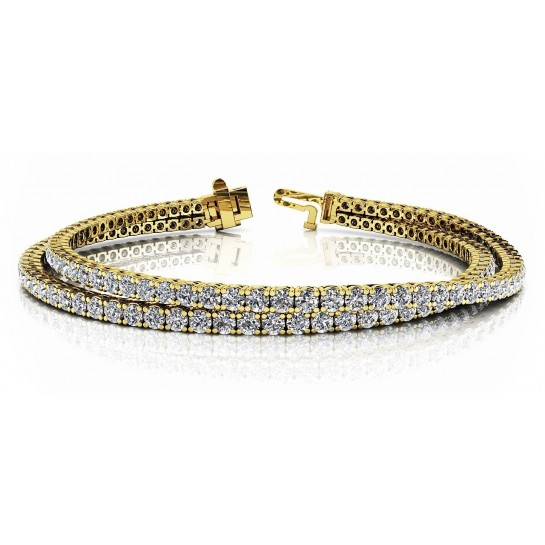 5.66 Carat Four Prong Basket Style Double Strand Tennis Bracelet 14K White or Yellow Gold