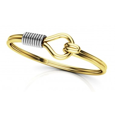 14K Stylish Wrap Bangle Infinity Two Tone Wire Twist