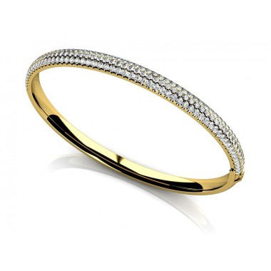 3.20 Carat Micro Pave Diamond Bangle Bracelet 14K White or Yellow