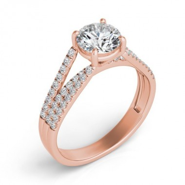 .40 ctw 14K Rose Gold Diamond Cathedral Micro Prong  Pave Semi Mount