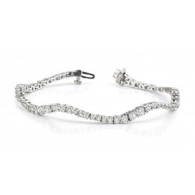 4.00 Carat Journey Wave Tennis Bracelet 14K White or Yellow Gold
