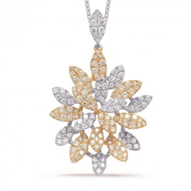 1.35 ctw. YELLOW & WHITE GOLD DIAMOND PENDANT