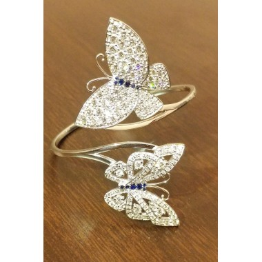 Butterfly Diamond & Sapphire Bangle Bracelet 14K White Gold